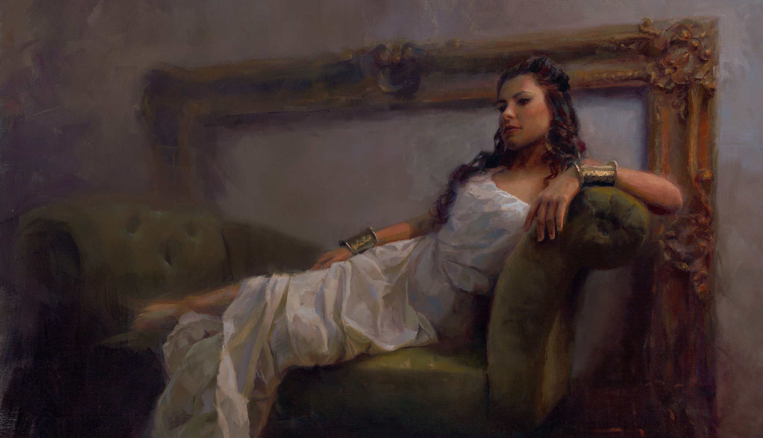 A portrait painting of a woman on a couch